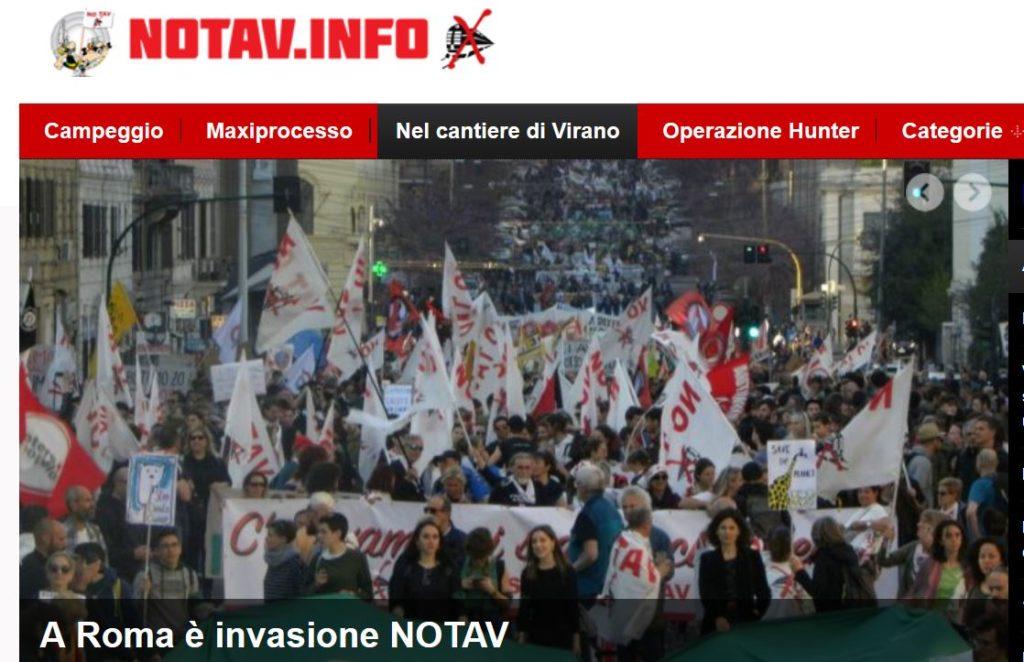 Screenshot der Webseite der No Tav Bewegung mit einem Bild von Protesten in Rom gegen die Hochgeschwindigkeitsstrecke durch die Alpen.