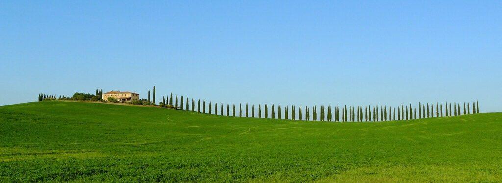 Landschaft in der Toskana mit Zypressen
